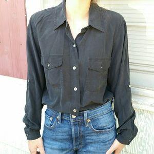 Black silk button down blouse collared